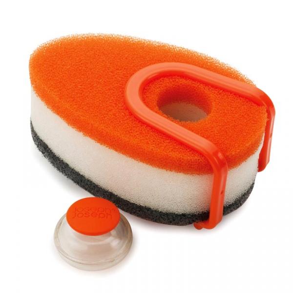 Zestaw gąbek do mycia z pojemnikiem 3 szt. Joseph Joseph pomarańczowe 85073