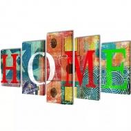 Zestaw kolorowych obrazów Canvas 100 x 50 cm Sweet Home