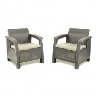 Zestaw krzeseł ogrodowych 75x70x79cm CORFU DUO Cappuccino/beż