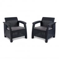 Zestaw krzeseł ogrodowych75x70x79cm Bazkar CORFU DUO antracyt/szary