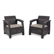 Zestaw krzeseł ogrodowych75x70x79cm  Bazkar CORFU DUO brąz/taupe
