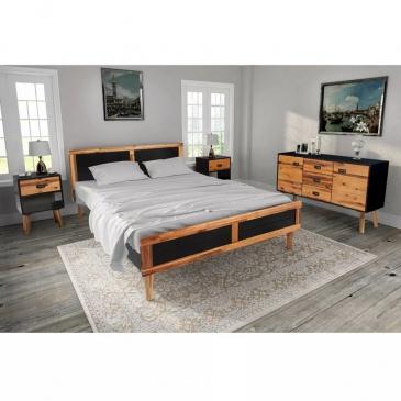 Zestaw Mebli Do Sypialni 4 Elementy Drewno Akacjowe