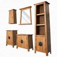 Zestaw mebli łazienkowych, 5 szt., drewno sosnowe z odzysku