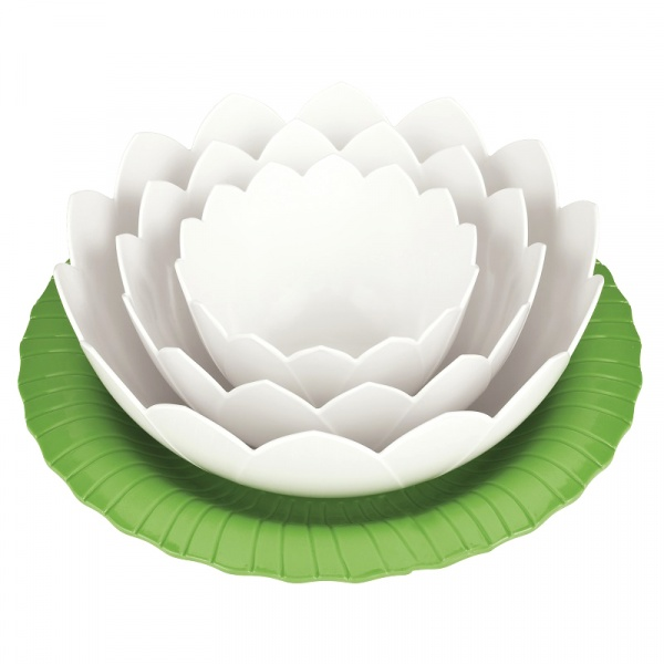Zestaw misek z podstawką Zak! Design Lotus zielono - biały 3 szt. 1751-J370