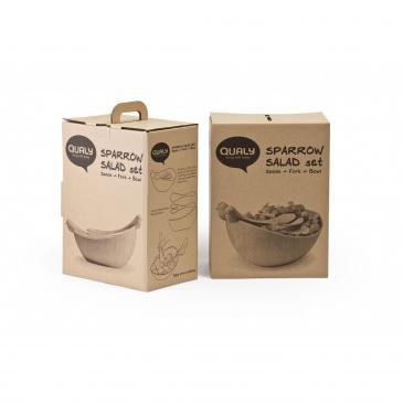 Zestaw miska z łyżkami do sałatek Sparrow biały 10098-WH