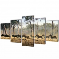 Zestaw obrazów Canvas 100 x 50 cm Zebry