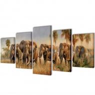 Zestaw obrazów Canvas 200 x 100 cm Słonie