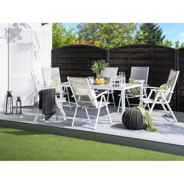 Zestaw ogrodowy 6-osobowy szary aluminiowy CATANIA
