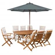 Zestaw ogrodowy drewniany pouchy beżowe parasol Olivia BLmeble