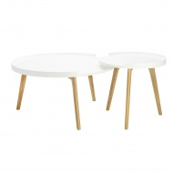 Zestaw stolików BANCO białe - MDF, nogi dębowe