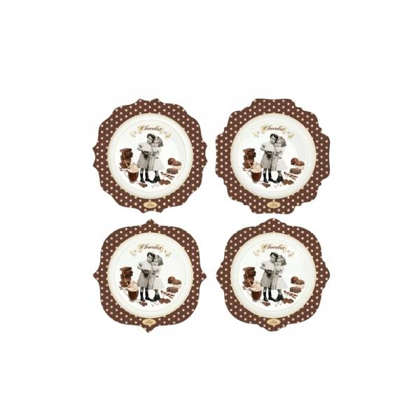 Zestaw talerzy 4 szt. Nuova R2S Chocolate Vintage 1129 CHOV