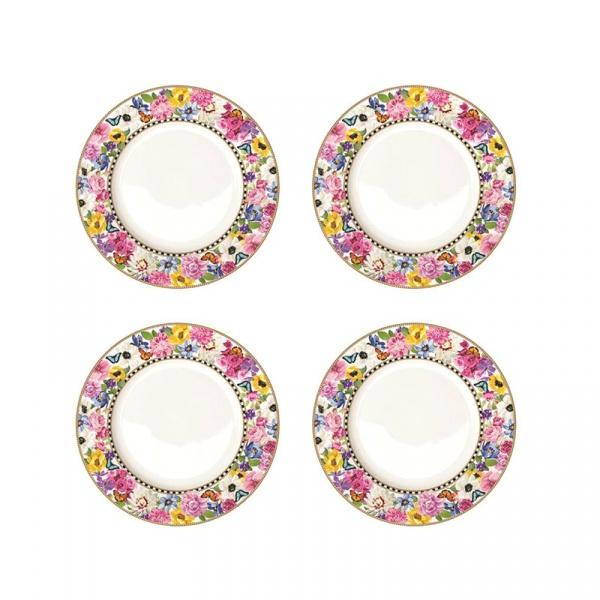 Zestaw talerzy deserowych 4szt 19cm Nuova R2S Flowers Glamour 976 GLUR