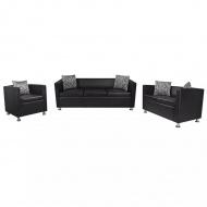 Zestaw wypoczynkowy z eko-skóry: 2 sofy i 1 fotel, kolor czarny
